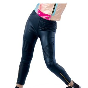 21821PY  Moto Stretch Faux Leather Hip Hop Performance Dance Leggings