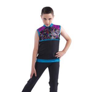 21833  Best Of My Love Glitz Sequin Mesh Boys Dance Top