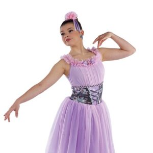 21838  Voices Of Spring Floral Mesh Performance Ballet Dress
