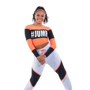 21844  Sketchers Spandex Colourblock Hip Hop Performance Costume Glo Orange
