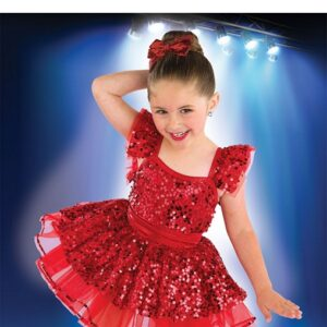 21861  Something I Want Paillette Sequin Lurex Kids Tap Dance Costume Red A