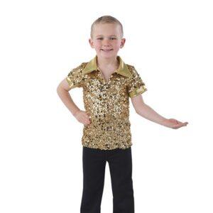 21862  Something I Want Sequin Lurex Guy Dance Shirt Gold