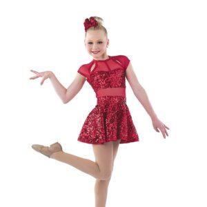 21863  Rock This Town Paillete Sequin Lurex Jazz Dance Dress Red