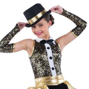 21887  Showbiz Paillette Sequin Jazz Performance Dance Unitard Gold