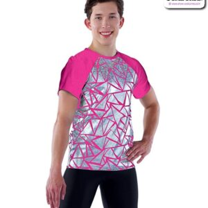 21897  Baby Girl Geometric Foil Guy Dance Top Fuchsia