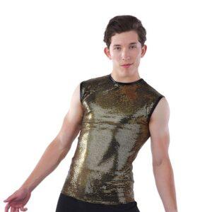 21898  Slay Guy Sequin Slinky Hip Hop Dance Sleeveless Tank