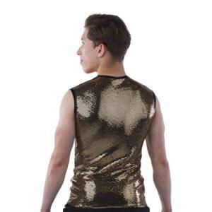 21898  Slay Guy Sequin Slinky Hip Hop Dance Sleeveless Tank Back