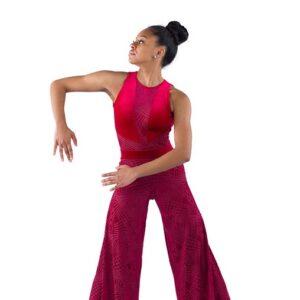 21917P  Sunflower Geometric Velvet Wide Leg Lyrical Dance Pant Red