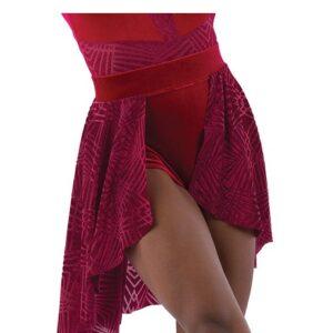 21917 SK  Sunflower Geometric Velvet Lyrical Dance Skirt Red