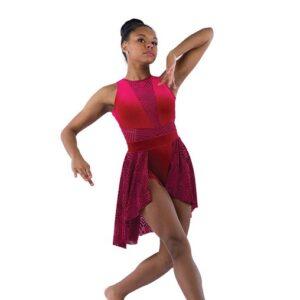 21917 SK  Sunflower Geometric Velvet Lyrical Dance Skirt Red With Leotard