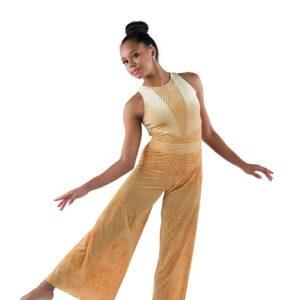 21917  Sunflower Geometric Velvet Lyrical Dance Leotard Gold With Pants