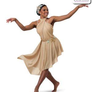 22001  Glitter Mesh Asymmetrical Lyrical Contemporary Dance Dress Tan