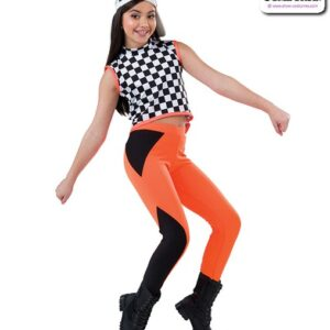22002  Checkered Sapndex Hip Hop Performance Costume Glo Orange