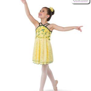 22005  Floral Mesh Kids Lyrical Dance Dress