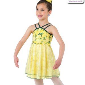 22005  Floral Mesh Kids Lyrical Dance Dress A