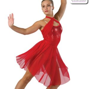 22007Y  Ombre Sequin Solid Mesh Lyrical Contemporary Dance Dress Red