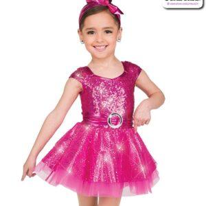 22009  Elite Sequin Kids Tap Dance Costume Fuchsia