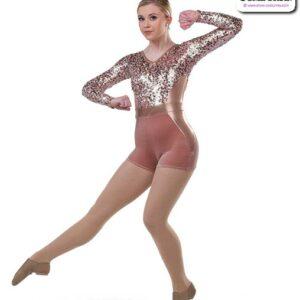 22010  Metallic Sequin Mesh Long Sleeve Jazz Dance Shortall