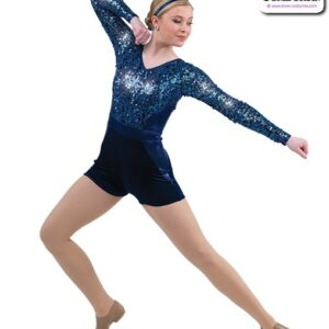 22010  Metallic Sequin Mesh Long Sleeve Jazz Dance Shortall Navy