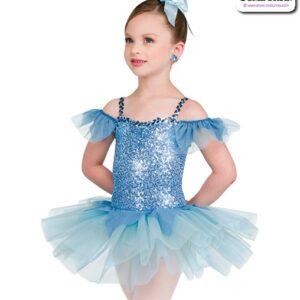 22012  Sequin Spandex Kids Performance Short Ballet Tutu Dior Blue