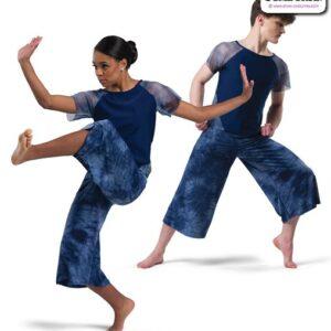 22014  Tiedye Spandex Lyrical Contemporary Dance Costume Navy