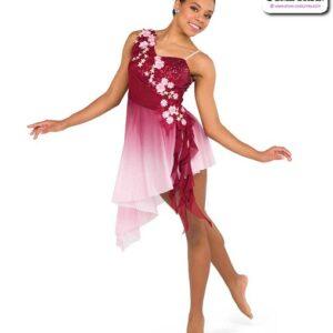 22017Y  Sequin Spandex Ombre Mesh Aysymmetrical Lyrical Contemporary Dance Dress B