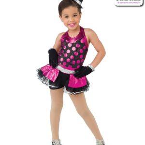 22019  Glitter Foil Polka Kids Jazz Dance Costume