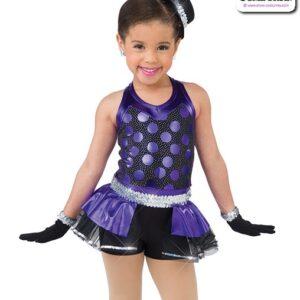 22019  Glitter Foil Polka Kids Jazz Dance Costume Purple