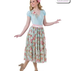 22021  Spandex Floral Chiffon Lyrical Contemporary Dance Dress