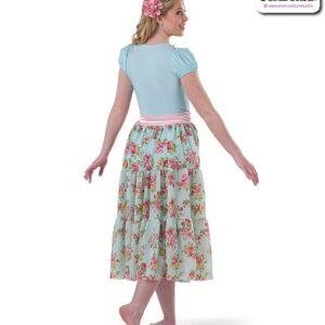 22021  Spandex Floral Chiffon Lyrical Contemporary Dance Dress Back