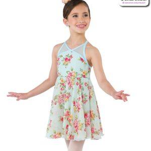 22022  Floral Chiffon Kids Lyrical Dance Dress A