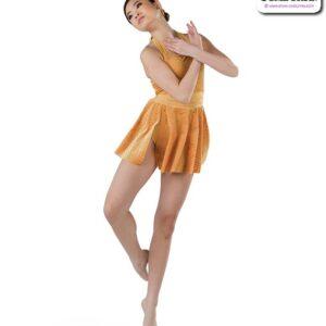 22023  Geometric Burnt Out Velvet Lyrical Contemporary Dance Dress Gold A