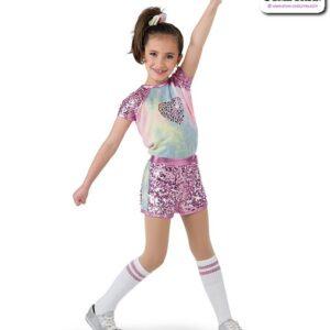 22024  Applique Sequin Kids Hip Hop Performance Costume