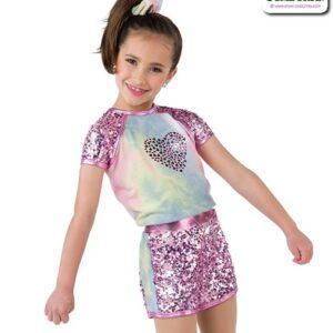 22024  Applique Sequin Kids Hip Hop Performance Costume A