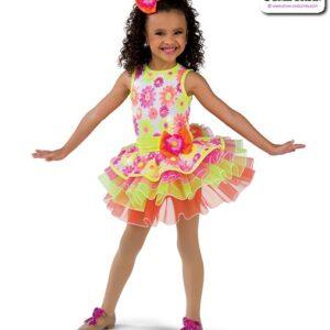 22025  Sequin Daisy Print Kids Tap Dance Costume