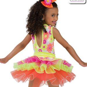 22025  Sequin Daisy Print Kids Tap Dance Costume Back