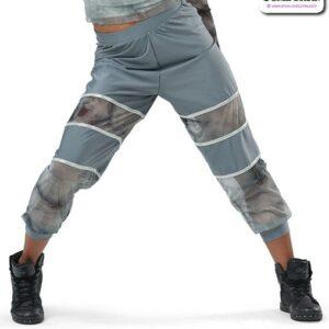 22031P  Tiedye Spandex Hip Hop Performance Joggers Grey