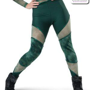 22032P  Tiedye Spandex Hip Hop Performance Leggings Hunter Green