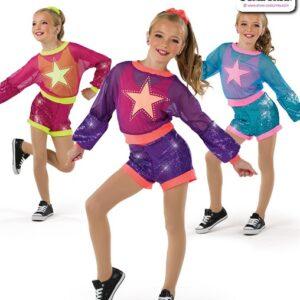 22035  Glitter Foil Star Kids Hip Hop Performance Costume