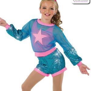 22035  Glitter Foil Star Kids Hip Hop Performance Costume Turquoise