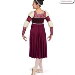 22036  Shimmer Velvet Glossy Spandex Performance Ballet Dress Back