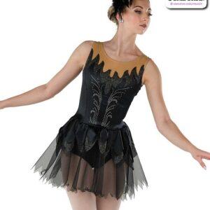 22037  Stretch Satin Glitter Knit Ballet Leotard Black