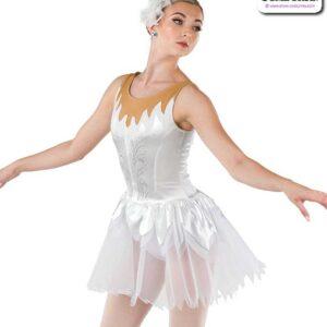 22037  Stretch Satin Glitter Knit Ballet Leotard White