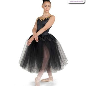 22038  Stretch Satin Glitter Knit Romantic Ballet Tutu Black