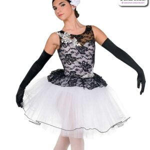 22042  Floral Lace Spandex Ballet Tutu A
