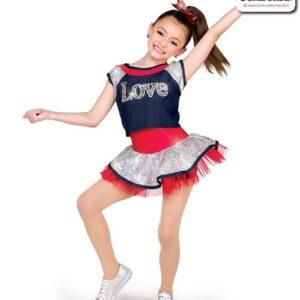 22045  Beaded Love Applique Kids Hip Hop Performance Costume