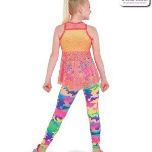 22048  Glitter Foil Neon Camo Print Hip Hop Performance Costume Back