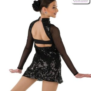 22051  Geometric Embroidered Sequin Jazz Dance Dress Rear