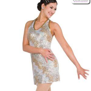 22053  Camo Sequin Mesh Jazz Tap Dance Dress A
