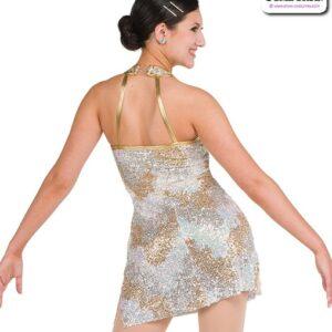 22053  Camo Sequin Mesh Jazz Tap Dance Dress Back